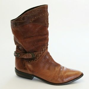 Cognac Brown Slouch Western Style Boot